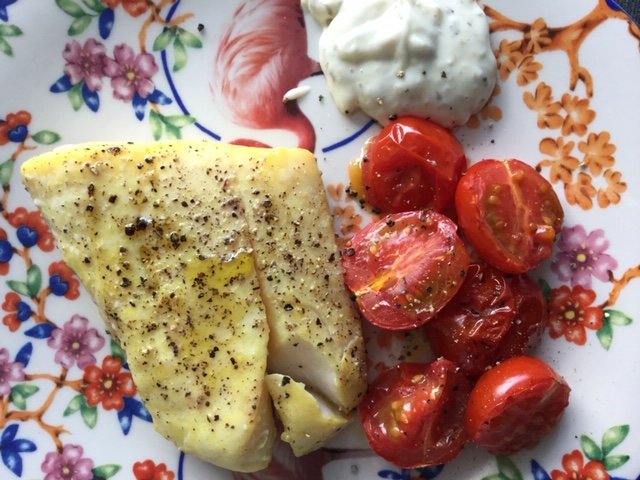 Lockdown Lunch – Roasted Smoked Haddock Fillet and Tomatoes